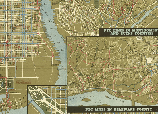 Detail of larger map of Philadelphia streets, the Delaware river, and New Jersey streets